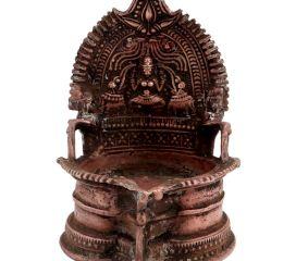 Brass Oil Lamp Engraved Goddess Laxmi And Two Jumbo Elephants