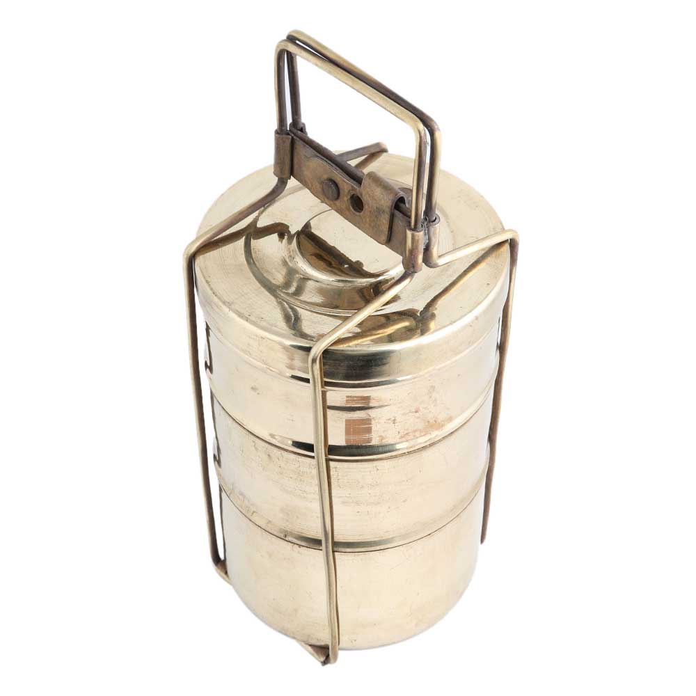 Golden Brass Three storage Tiffin Box Or Lunch Box