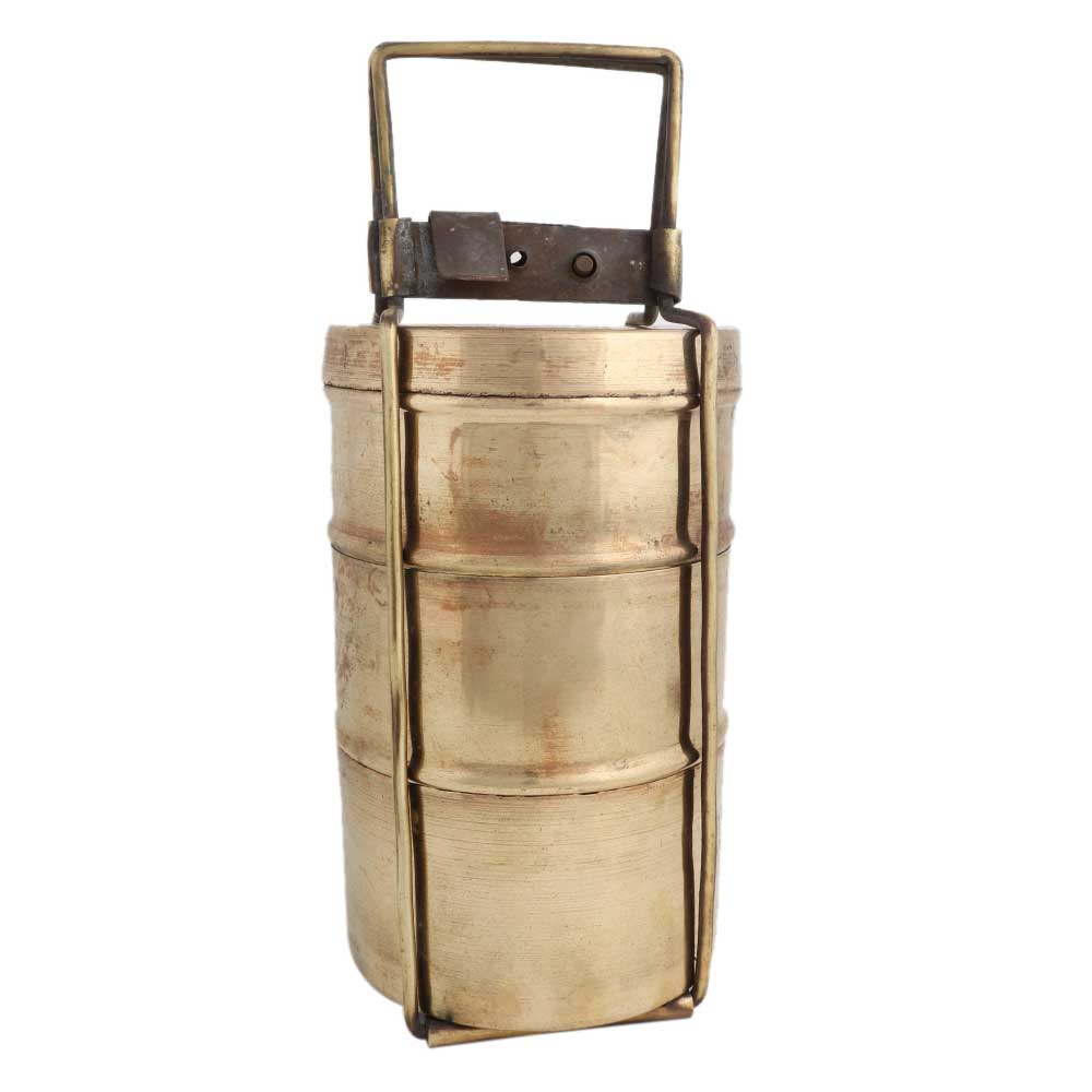 Brass Tiffin Box Or Lunch Box With Three Separate Containers