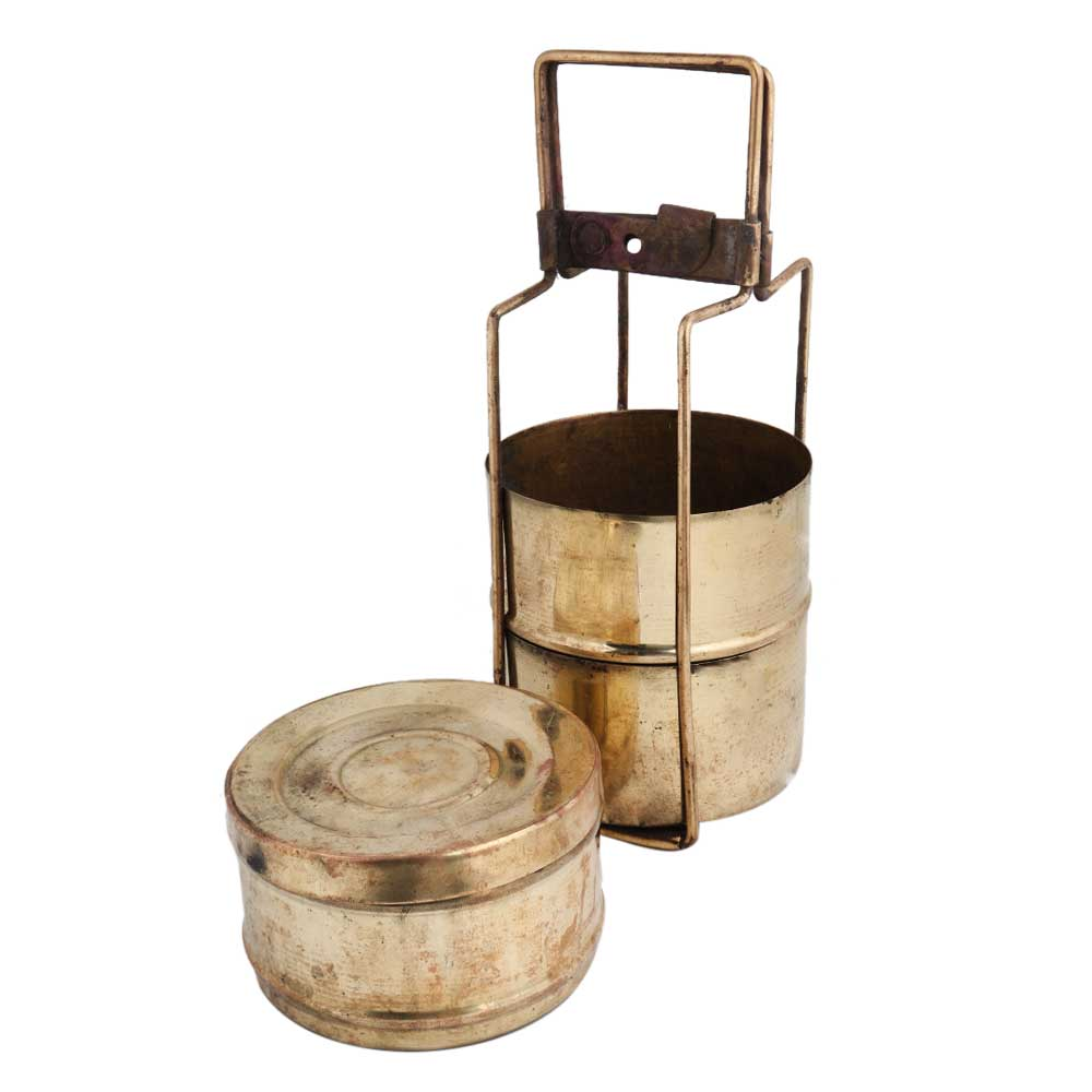 Traditional Brass Lunch Box Or Tiffin With Three Compartments