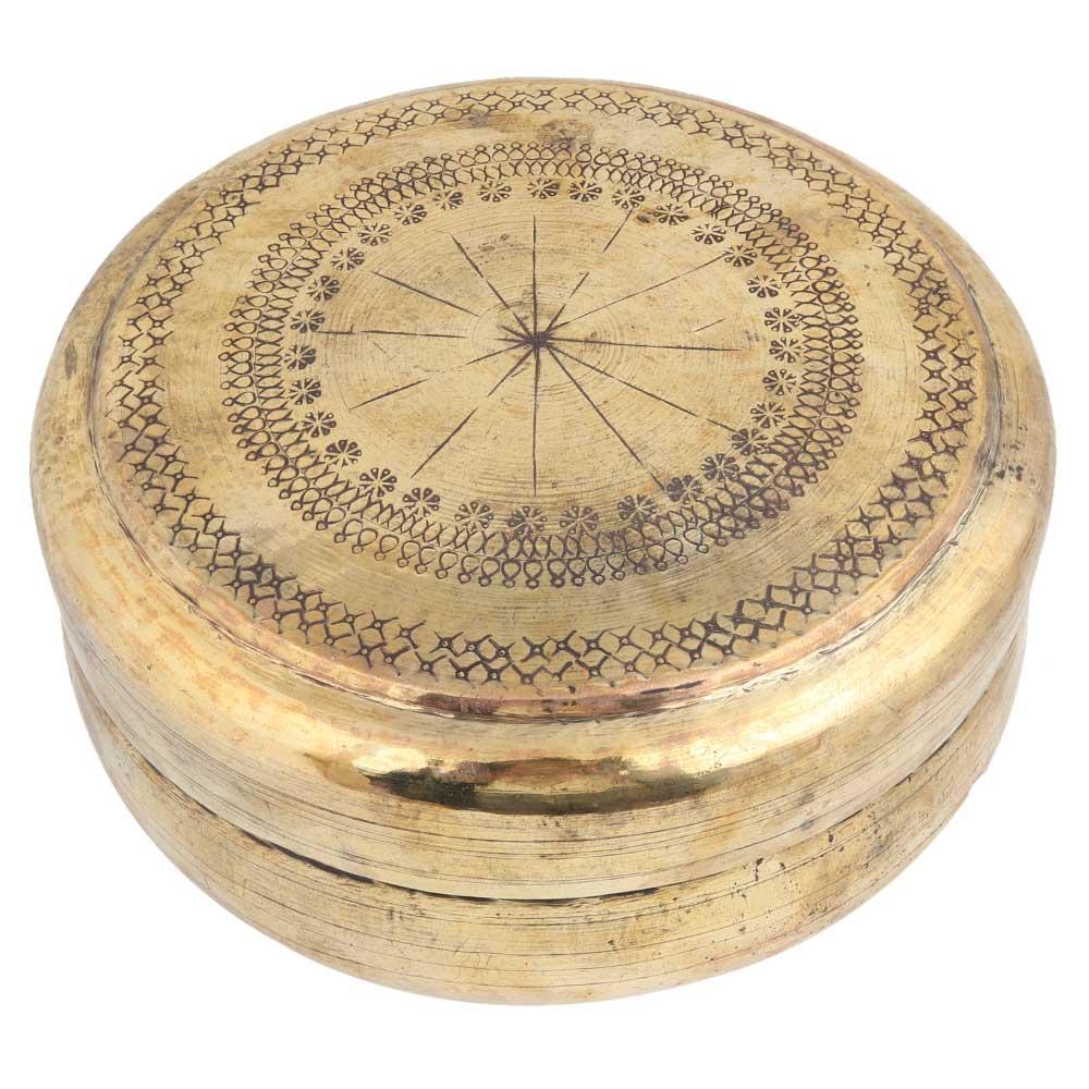 Brass Round Box Hand Engraved Subtle Pattern