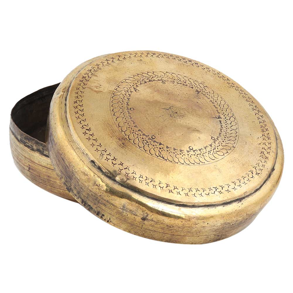 Old Brass Round Chapatti Box Trinket Box