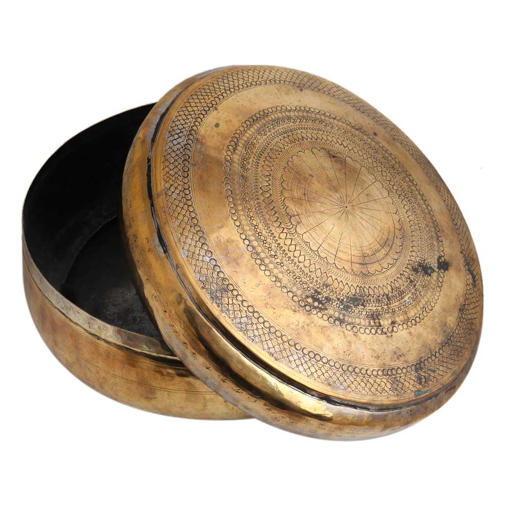 Round Brass Box Engraved Design Vintage Collection