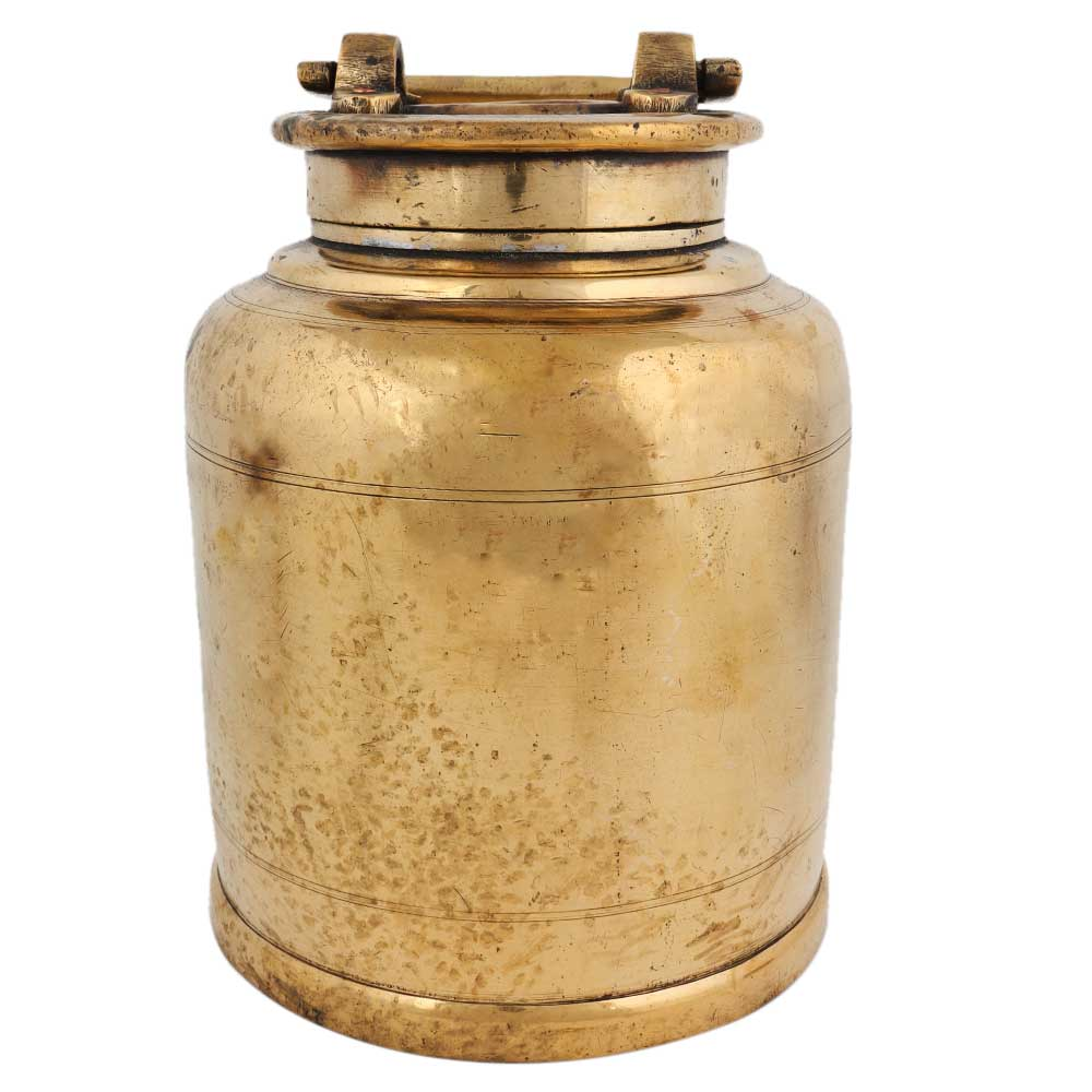 Old Brass Milk Container With Handle