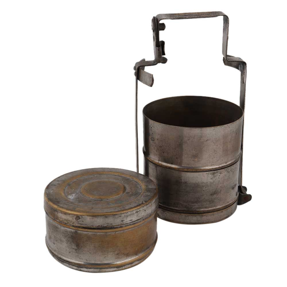 Brass Three Tier Chapati Box With Thick Handle