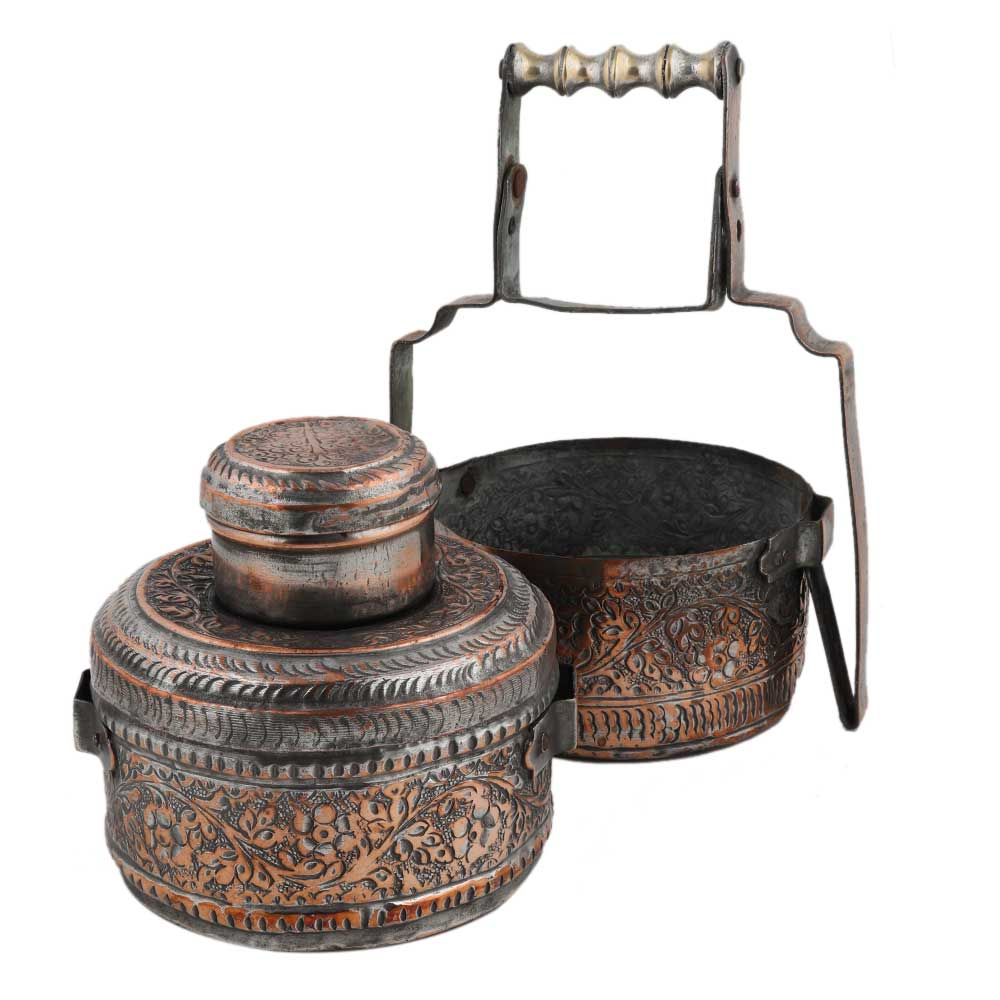 Copper Tiffin Box With Engraved Floral Design