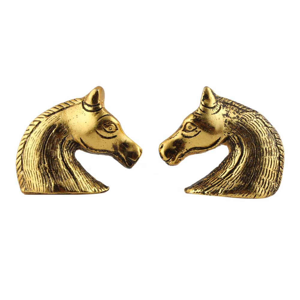 Two Horses Facing Metal Cabinet Knobs One Pair