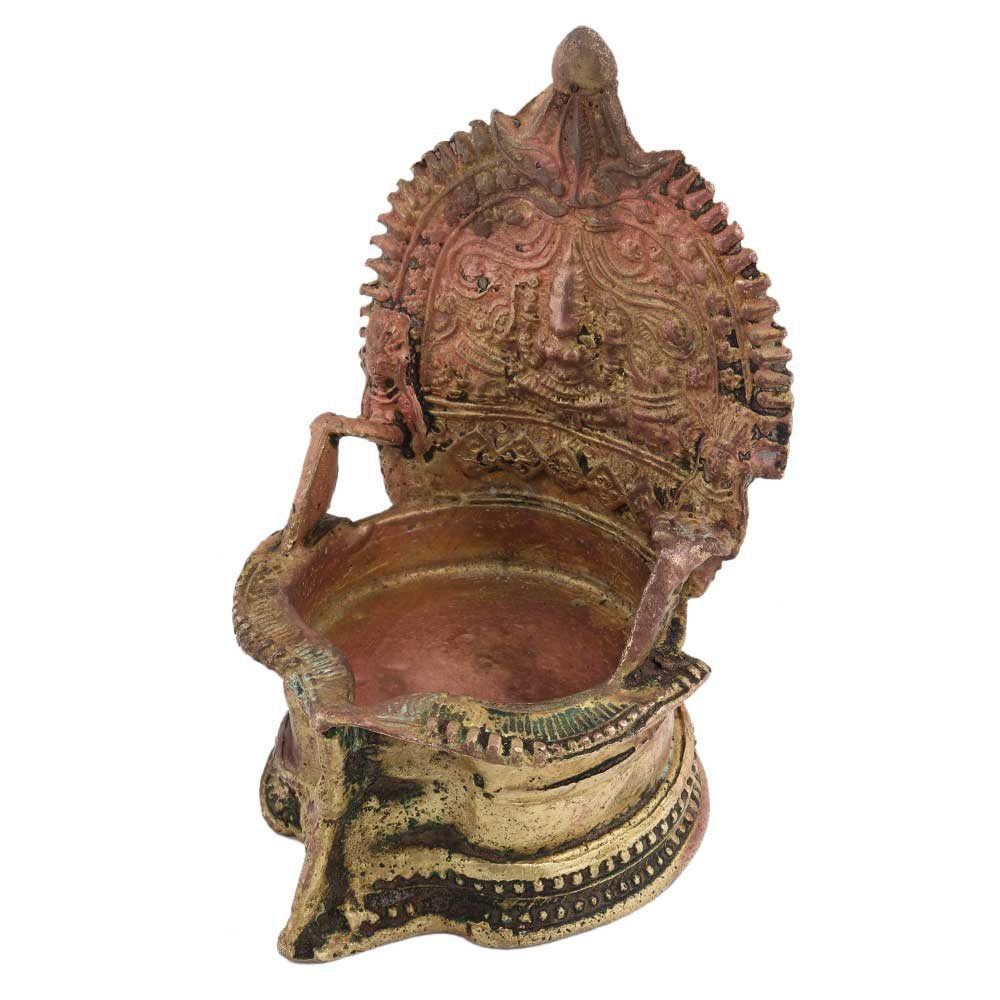 Hand crafted Brass Gajllaxmi Lamp With Beautiful Engravings