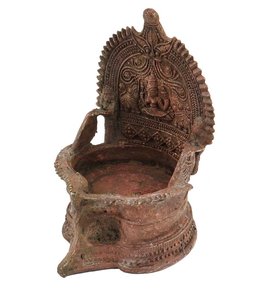 Old Brass Laxmi Oil Lamp Worship Puja Lamp