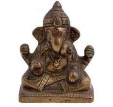 Brass Ganesha Statue  Sitting On Raised Platform Blessing Pose