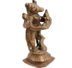 Brass Statue Of God Vishnu In Form Of Boar Lifting Goddess Bhudevi In His Arms