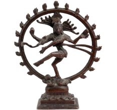 Brass Dancing Shiva Statue With Rings Of Flame