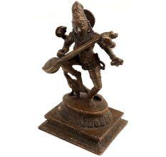 Brass Saraswati Idol On Peacock Playing Veena