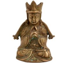 Brass Crowned Tibetans Buddha For Good Luck