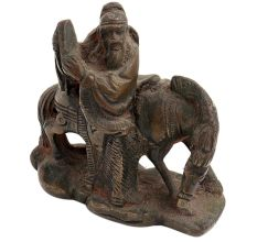 Brass Chinese Old Man Statue On A Horse