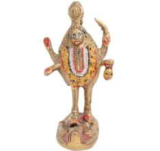 Hand Painted Brass Goddess Kali Statue Standing On Lord Shiva