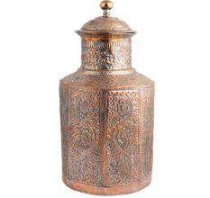 Unique Copper Storage Box With Repousse Floral Design