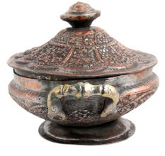 Carved Kashmiri Copper Rice Bowl Handles And Lid