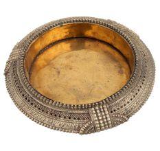 Round Brass Bangle Style Ashtray Embossed design