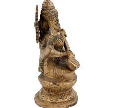 Brass Goddess Saraswati Playing Veena Statue
