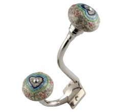 Colorful Hearts Crackle Ceramic Silver Iron Hook