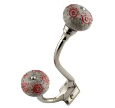 Red Round Crackle Ceramic Silver Iron Hook