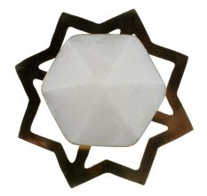 White Hexagon Stone Cabinet Brass Knobs