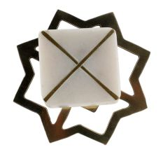White Stone Square Gold Cross Dresser Knob