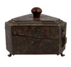Six Sided Brass Box Floral Design Engraved Storage Box Knob Finial Lid