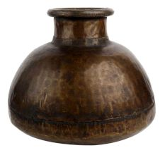 Old hand beaten Brass Pot With Large Belly Base