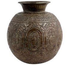 Broad Round Brass Pot Embossed Floral Design