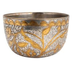Brass Serving Bowl With Leafy Enamel Work