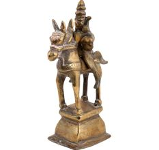 Brass Tribal Horse  Statue On Rectangular Pedestal
