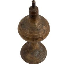 Mid Century Brass Hourglass Shaped Oil Lamp