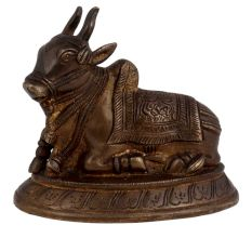 Brass Sitting Maha Shiv Nandi Statue For Good Luck