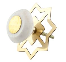 White Stone Flat Drawer Knob