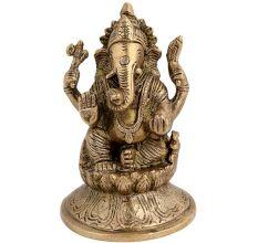 Brass Blessing  Ganesha Statue On Lotus Base