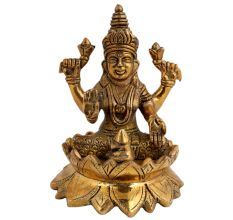 Exotic Brass Laxmi Statue Religious Idol Sculpture
