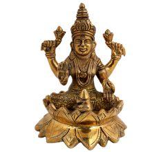 Exotic Brass Laxmi Statue Religious Idol Sculpture