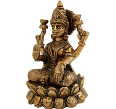 Brass Hindu Lakshmi Goddess Statue Office Decoration