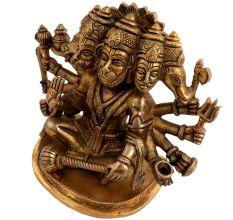 Brass Panch Mukhi Hanuman Statue Hindu Worship Statue