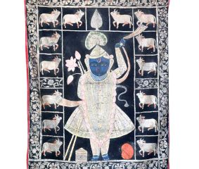Srinathji Pichwai painting With Cows On Black Fabric