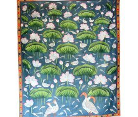 Lotus And Birds Pichwai Painting On Fabric