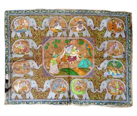 Radha Krishna Pichwai Painting And elephant Motifs With Different forms of krishna Life