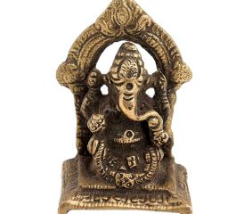 Brass Ganesha Idol Sculpture Sitting On A Chowki