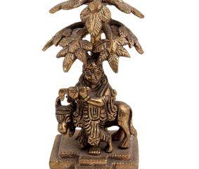 Brass Lord Krishna Statue Playing Flute Under Kadamba Tree