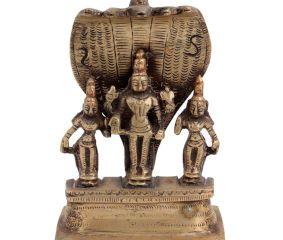 Brass Lord Vishnu With  Deivanai and Valli And Sheshnag Statue