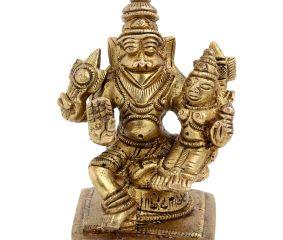 Brass Narsimha Vishnu Avatar With Goddess Laxmi Statue