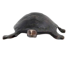 Intricately Carved Black  Brass Turtle Figurine Feng Shui Gift