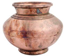 Brass Water Pot Carved Circular Lines Design